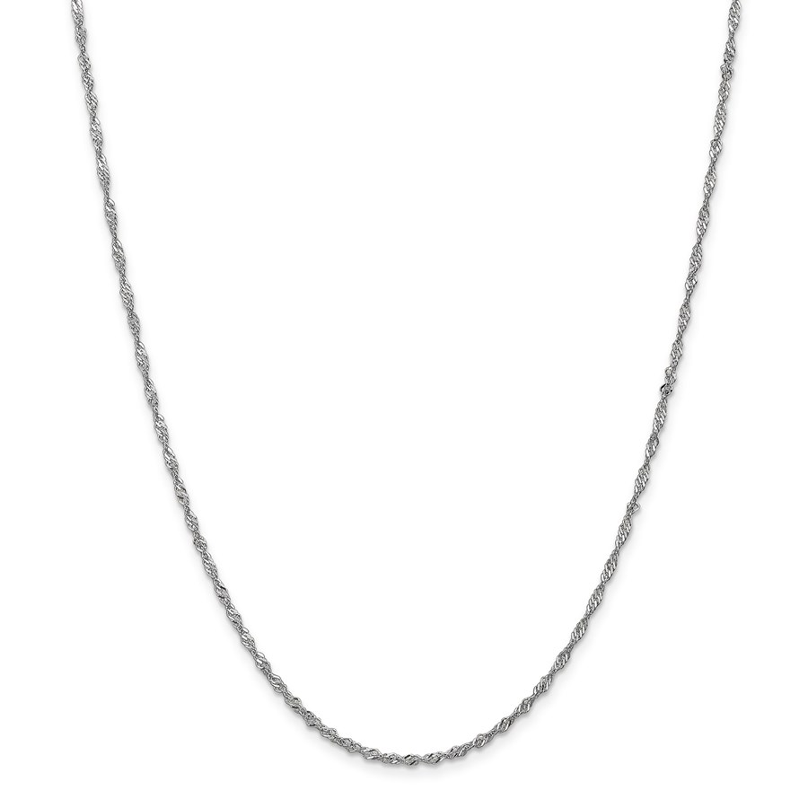 14k White Gold .5 mm Cable Rope Chain Necklace - 18 in.