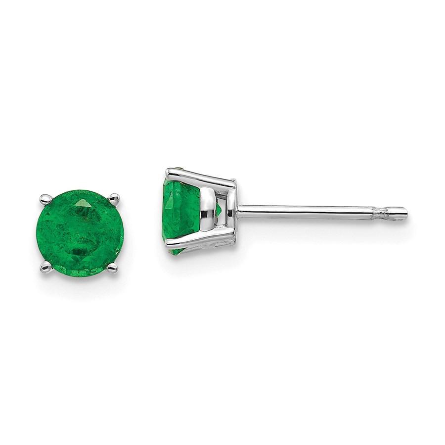 14k White Gold 5 mm Emerald Earrings