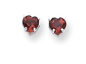 14k White Gold 5 mm Heart Garnet Earrings