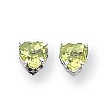 14k White Gold 5 mm Heart Peridot Earrings