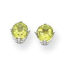 14k White Gold 5 mm Peridot Earrings