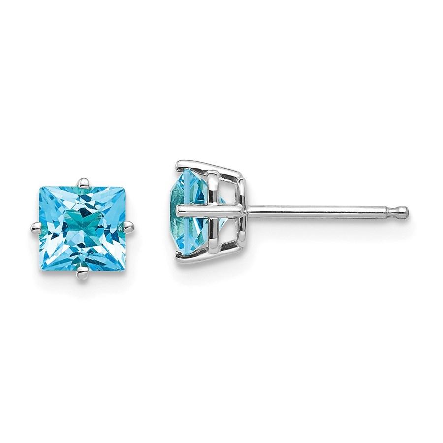 14k White Gold 5 mm Princess Cut Blue Topaz Earrings