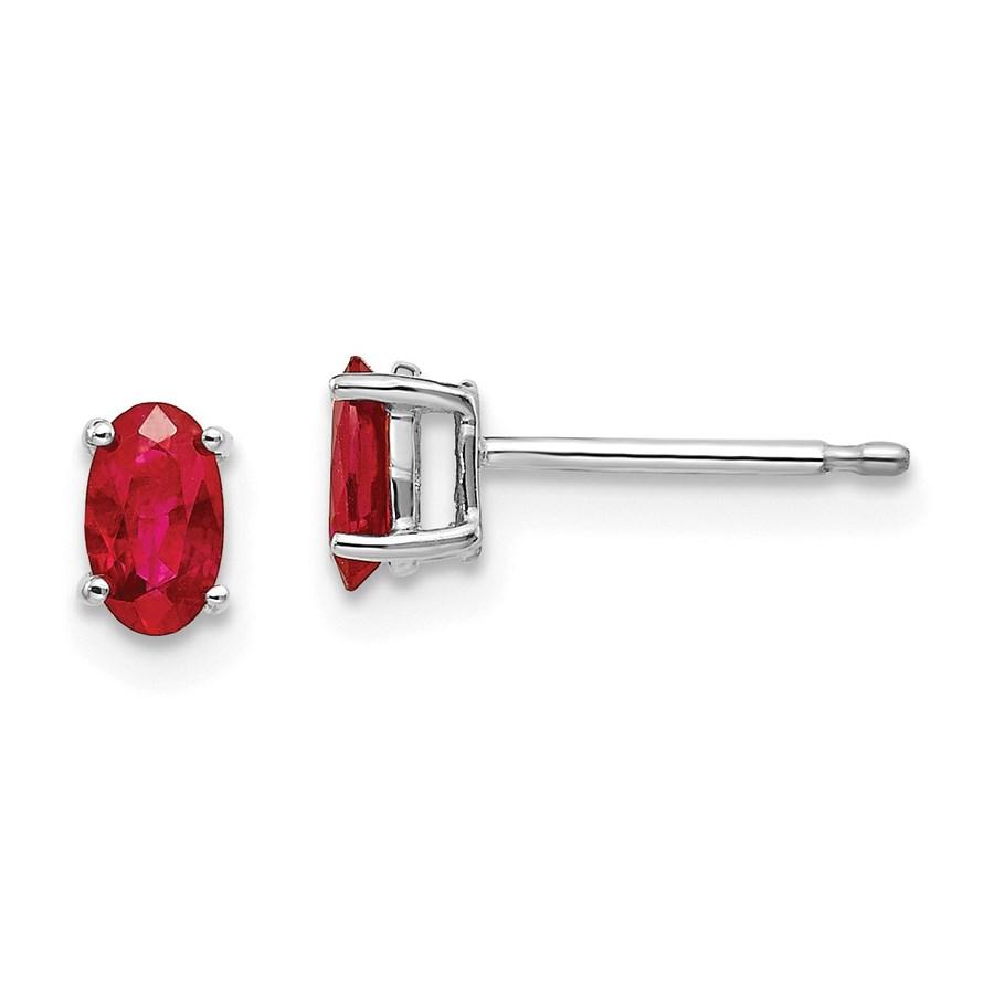 14k White Gold 5 mm Ruby Earrings