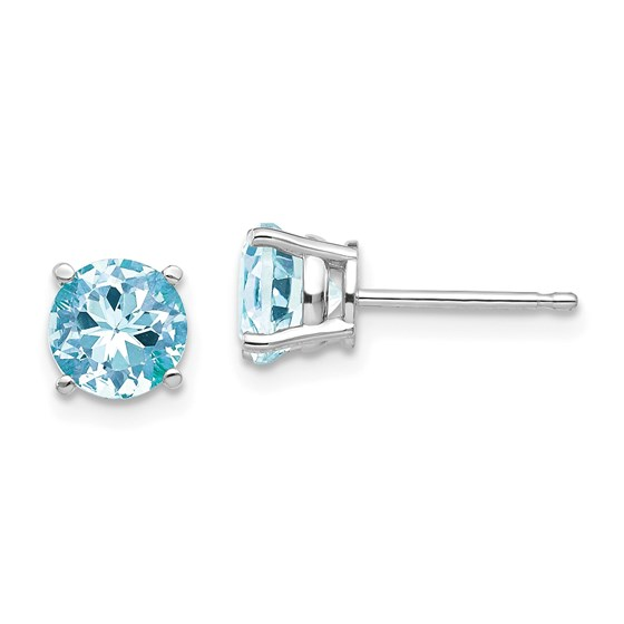 14k White Gold 6 mm Aquamarine Earrings