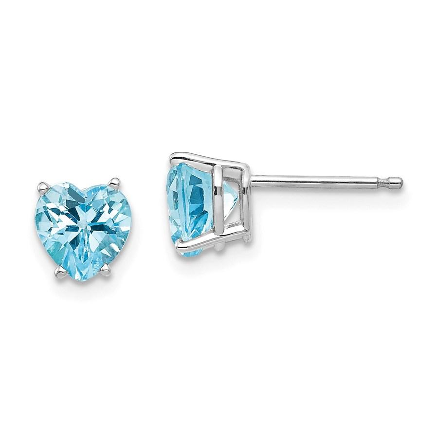 14k White Gold 6 mm Heart Blue Topaz Earrings