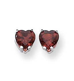 14k White Gold 6 mm Heart Garnet Earrings
