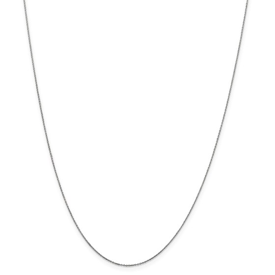 14k White Gold .6 mm Solid Cable Chain Necklace - 20 in.