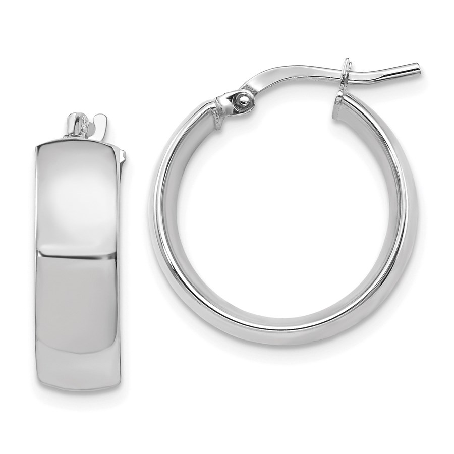 14K White Gold 6mm High Polished Hoop Earrings - 20 mm
