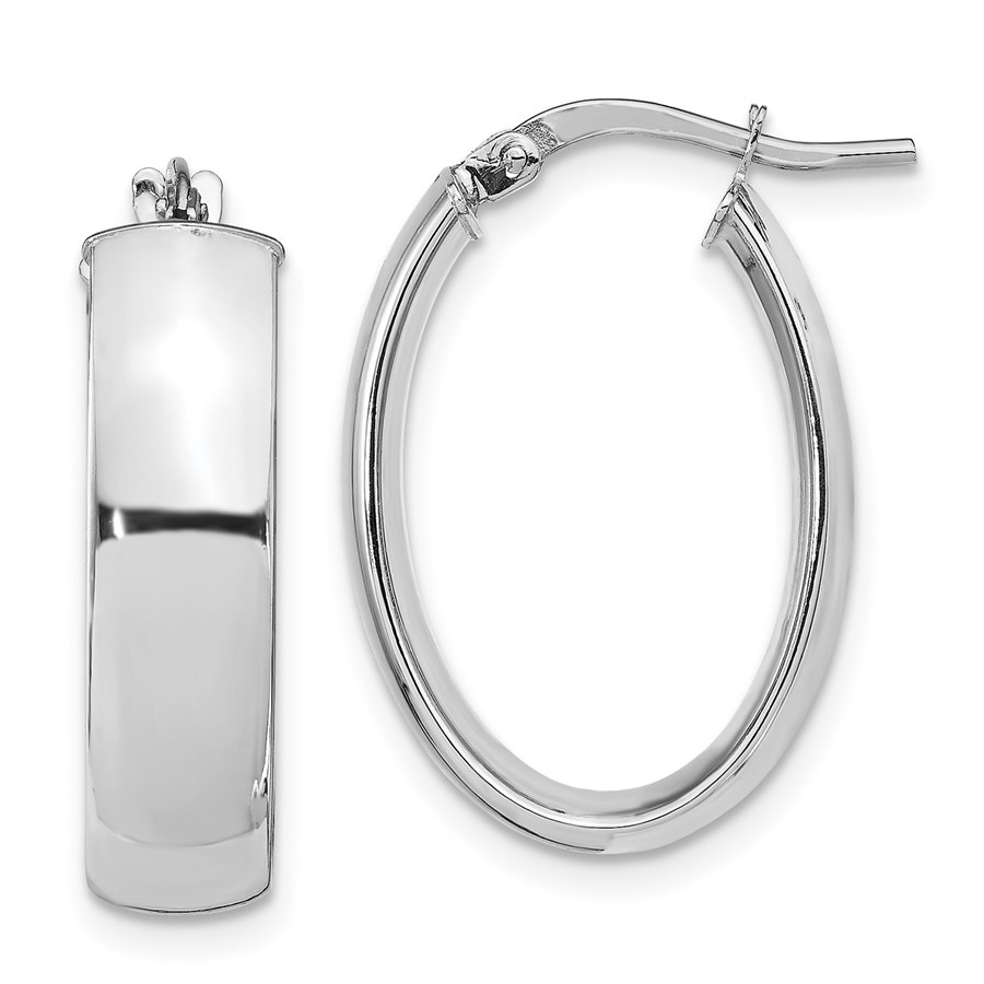 14K White Gold 6mm Polished Oval Hoop Earrings - 25.17 mm