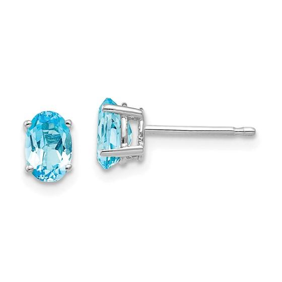 14k White Gold 6x4 mm Oval Blue Topaz Earrings