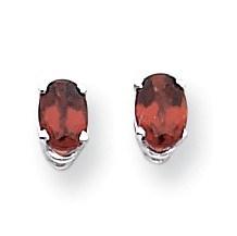 14k White Gold 6x4 mm Oval Garnet Earrings