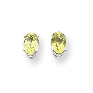 14k White Gold 6x4 mm Oval Peridot Earrings