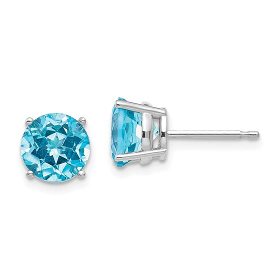 14k White Gold 7 mm Blue Topaz Earrings