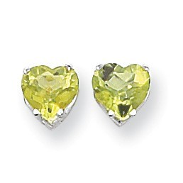 14k White Gold 7 mm Heart Peridot Earrings