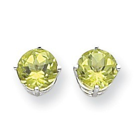 14k White Gold 7 mm Peridot Earrings
