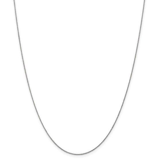 14k White Gold .75 mm Solid Polished Cable Chain Necklace - 18 in