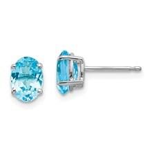 14k White Gold 7x5 mm Oval Blue Topaz Earrings