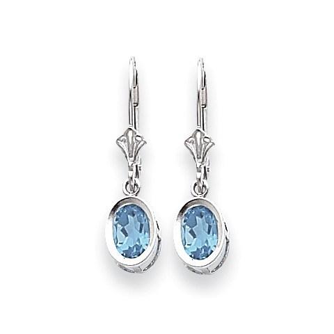 14k White Gold 7x5 mm Oval Blue Topaz Leverback Earrings