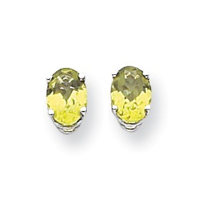 14k White Gold 7x5 mm Oval Peridot Earrings