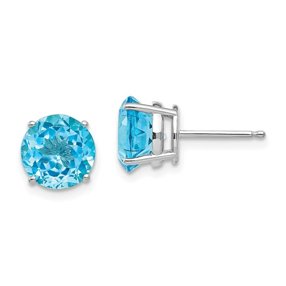 14k White Gold 8 mm Blue Topaz Earrings