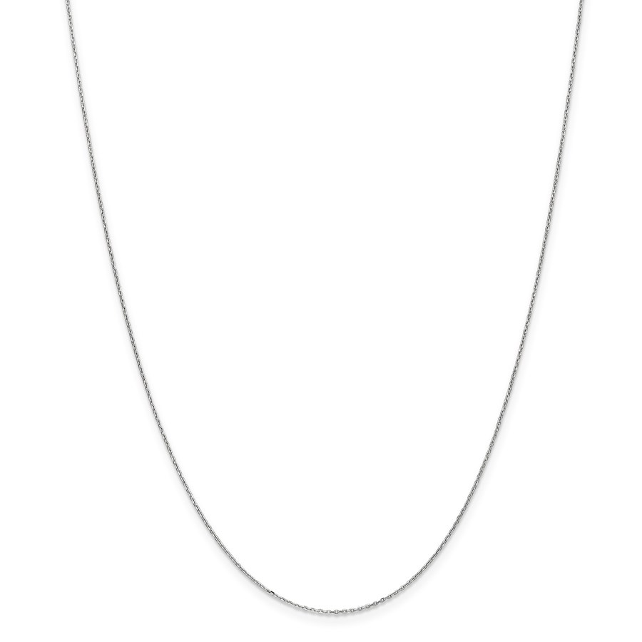 14k White Gold .8 mm Diamond-cut Cable Chain Necklace - 20 in.