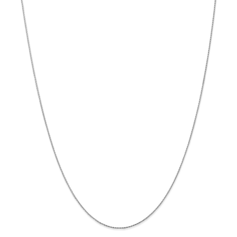 14k White Gold .8 mm Round Wheat Chain Necklace - 20 in.