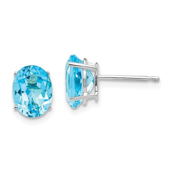 14k White Gold 8x6 mm Oval Blue Topaz Earrings