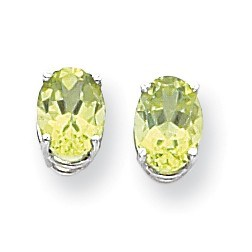 14k White Gold 8x6 mm Oval Peridot Earrings