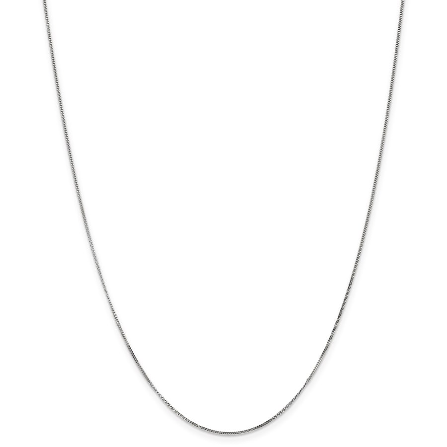 14k White Gold .9 mm Curb Pendant Chain Necklace - 18 in.
