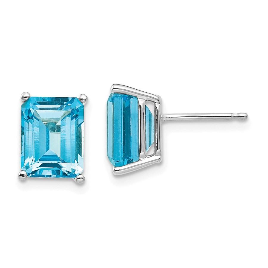 14k White Gold 9x7 mm Emerald Cut Blue Topaz Earrings