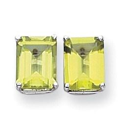 14k White Gold 9x7 mm Emerald Cut Peridot Earrings