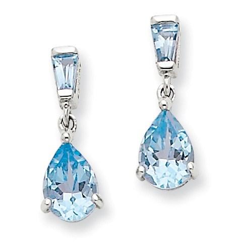 14k White Gold Blue Topaz Dangle Post Earrings