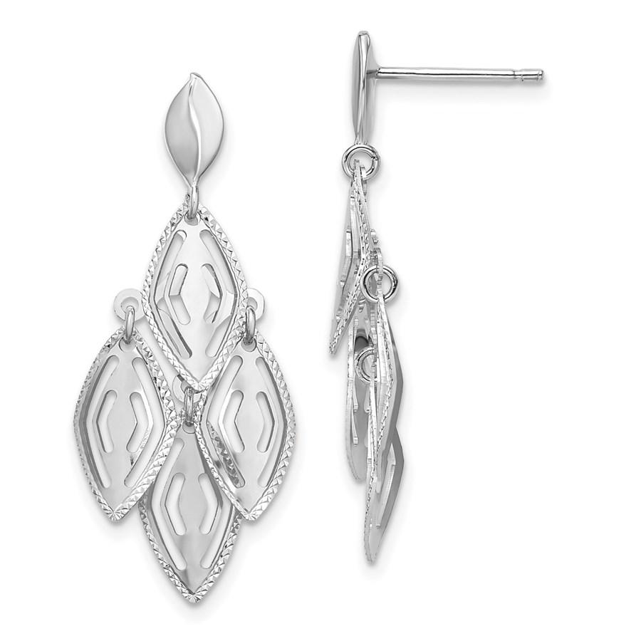 14K White Gold D/C Post Dangle Chandelier Earrings - 35 mm