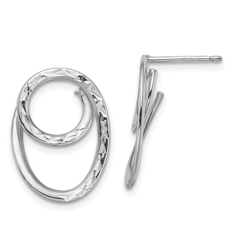 14K White Gold D/C Post Dangle Earrings - 23.25 mm