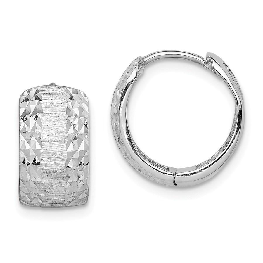 14k White Gold D/C Textured Hoop Earrings