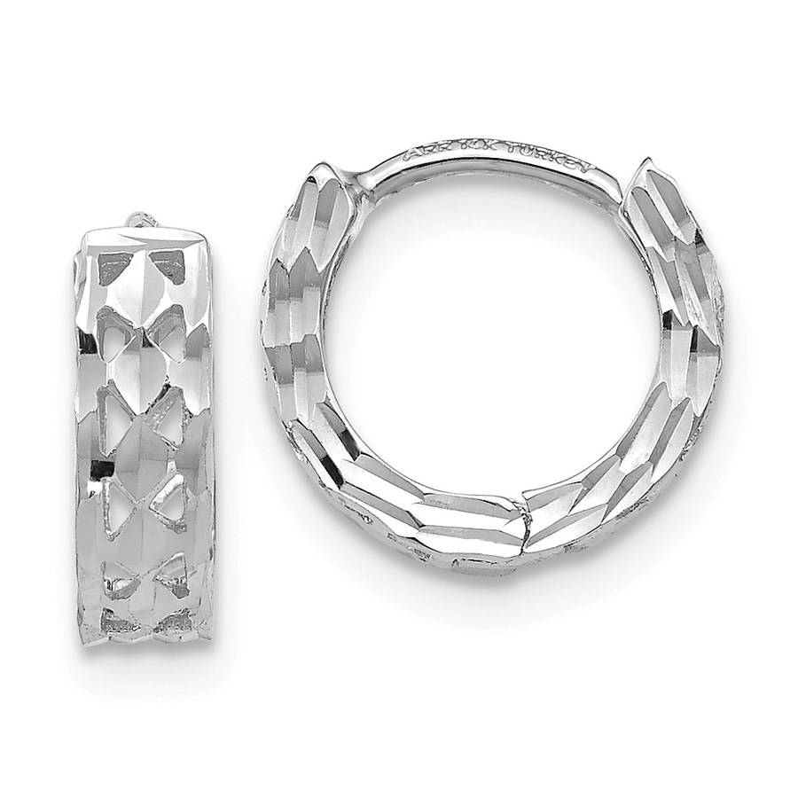 14k White Gold Diamond-cut 8 mm Hoop Earrings