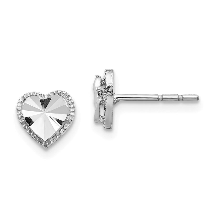 14k White Gold Diamond-Cut Heart Post Earrings