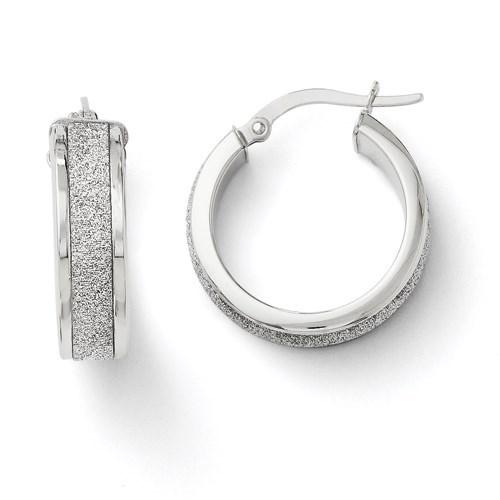 14K White Gold Fancy Glimmer Hoop Earrings - 20 mm