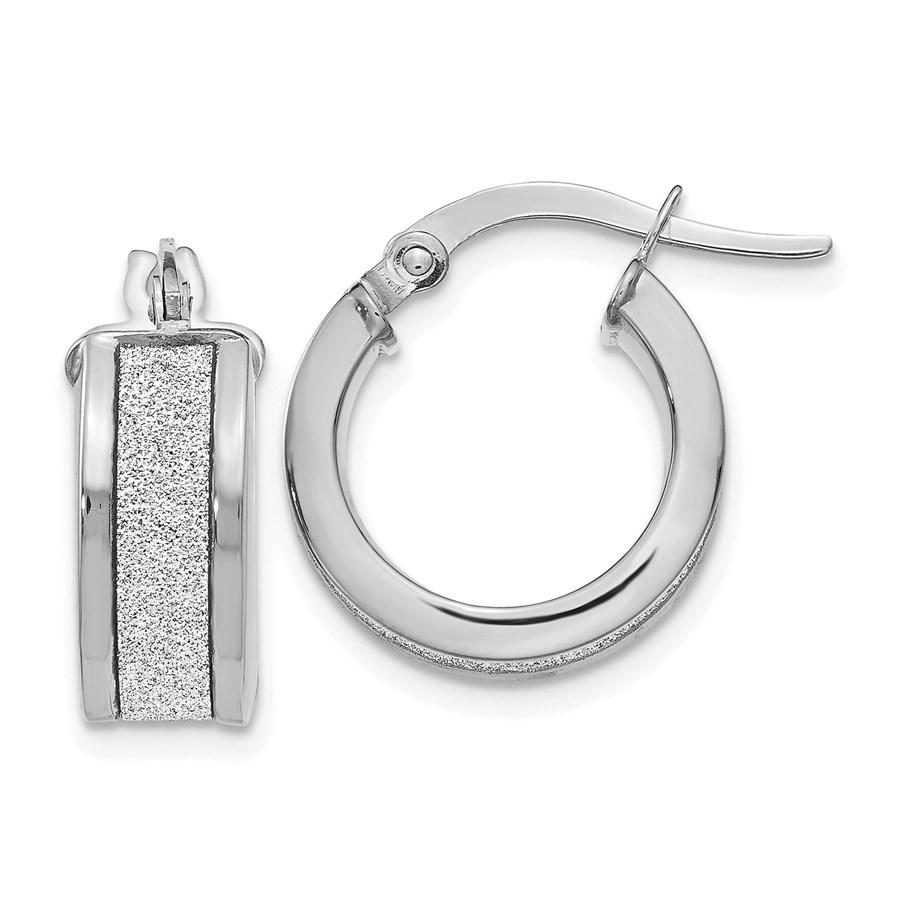 14K White Gold Fancy Glimmer Infused Hoop Earrings - 15 mm