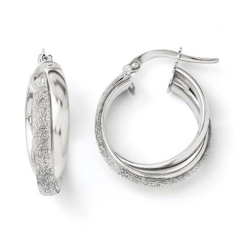 14K White Gold Fancy Glimmer Infused Hoop Earrings - 20 mm