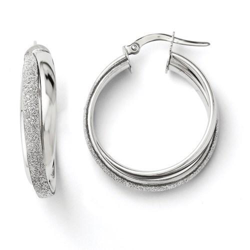 14K White Gold Fancy Glimmer Infused Hoop Earrings - 26 mm