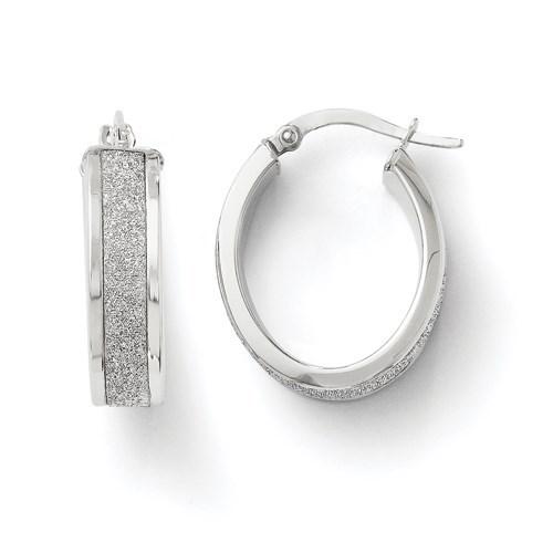 14K White Gold Fancy Glimmer Infused Oval Hoop Earrings - 23 mm