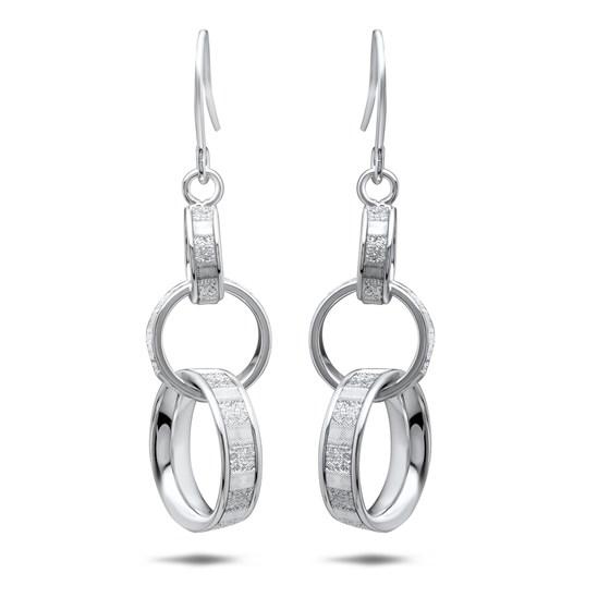 14k White Gold Glimmer Infused Dangle Earrings