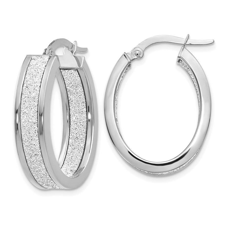 14K White Gold Glimmer Infused Oval Hoop Earrings - 24 mm