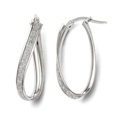 14K White Gold Glimmer Infused Oval Hoop Earrings - 28 mm