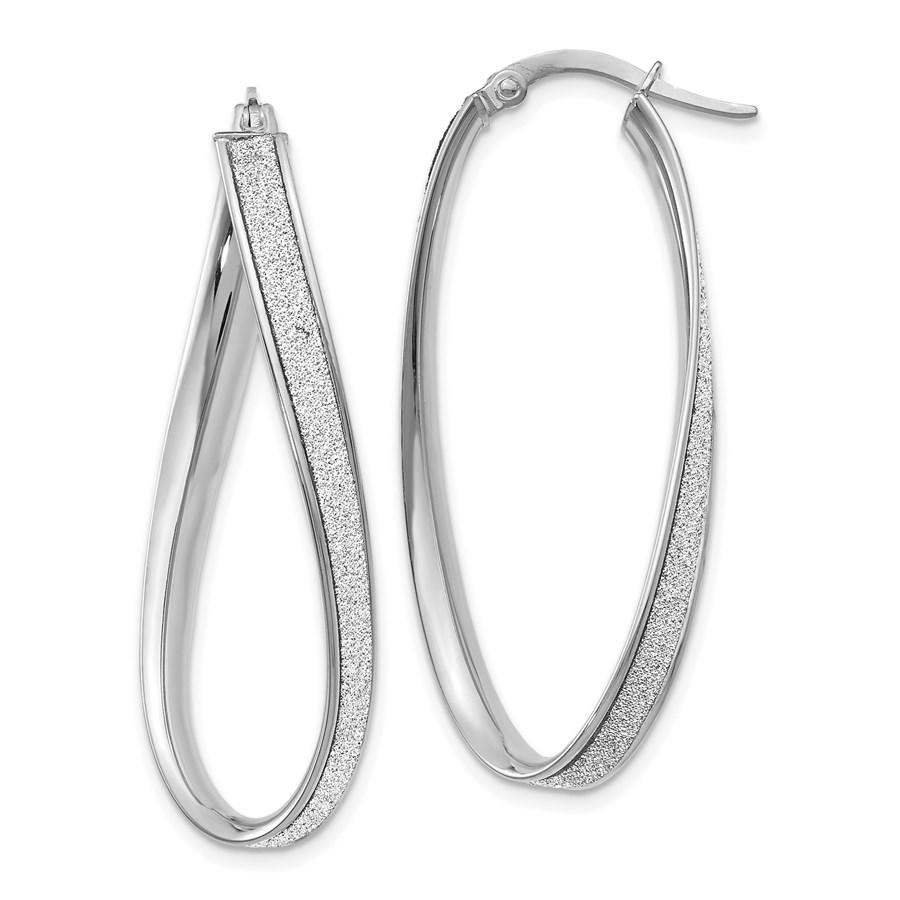 14K White Gold Glimmer Infused Oval Hoop Earrings - 39 mm