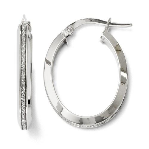 14K White Gold Glimmer Oval Hoop Earrings - 24 mm