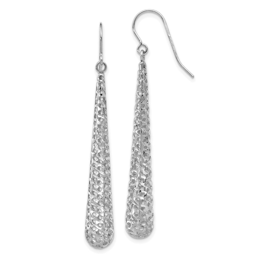 14K White Gold Hollow Dangle Earrings - 51 mm