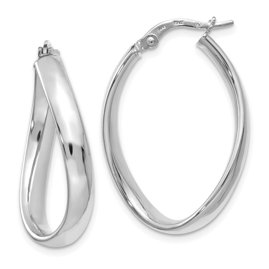 14K White Gold Oval Polished Hoop Earrings - 29.5 mm