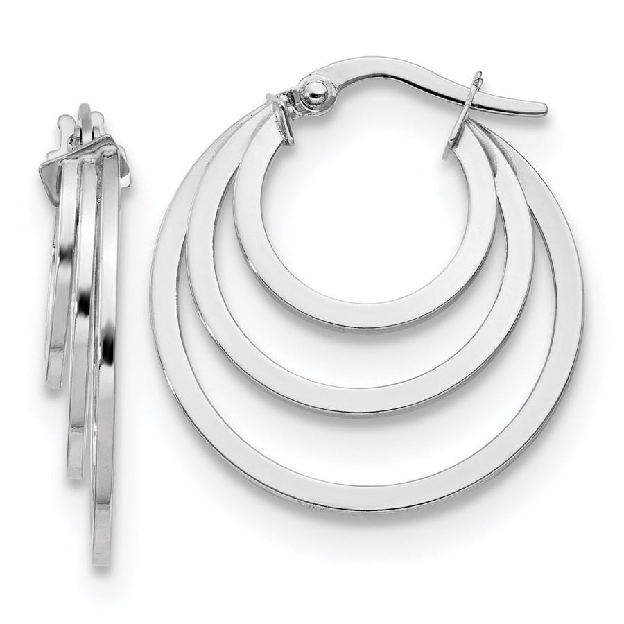 14K White Gold Polished 3 Ring Hoop Earrings - 23.5 mm